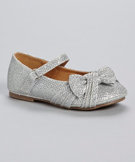 Silver Glitter Bow Mary Jane