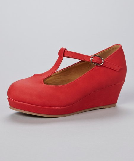 Red Vance T-Strap Wedge