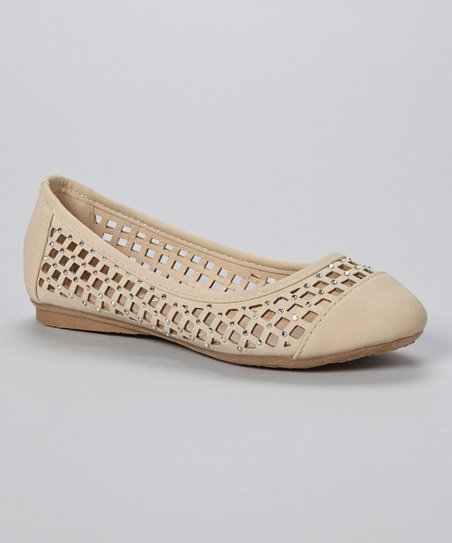 Beige Lattice Cutout Flat