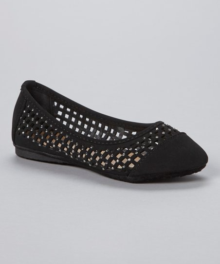 Black Lattice Cutout Flat