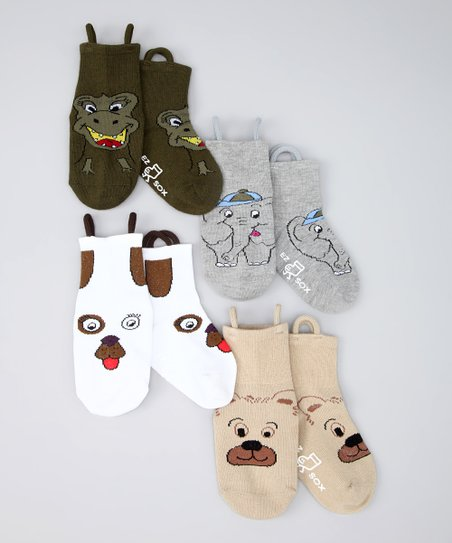 Brown & Gray Wild Friends Socks Set