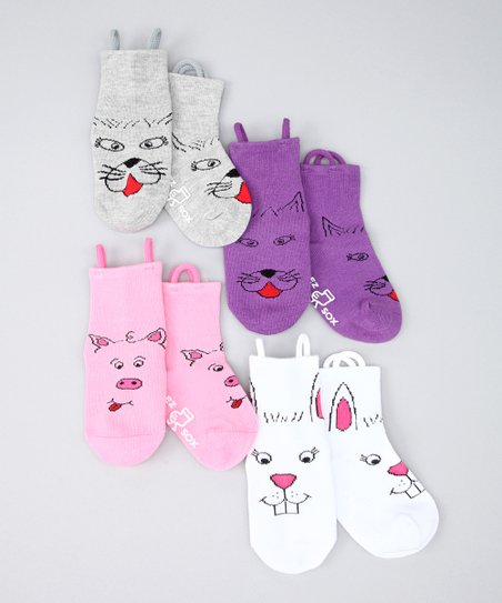 Pink &amp; Purple Kitty &amp; Friends Socks Set