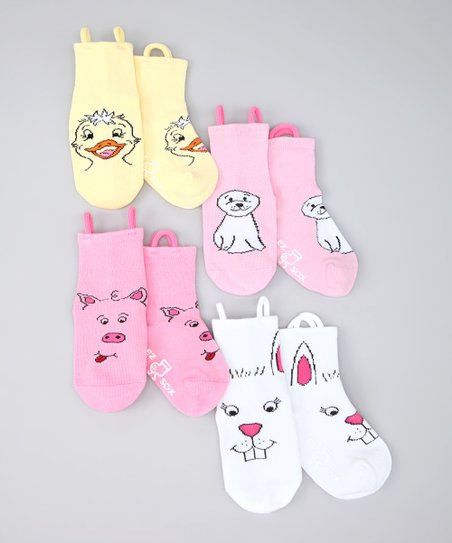 Pink &amp; Yellow Gentle Friends Socks Set