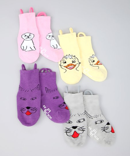 Yellow &amp; Purple Kitty &amp; Water Friends Socks Set