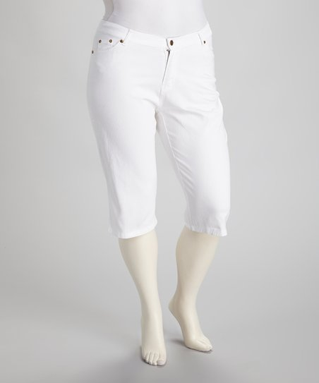 White Capri Pants - Plus