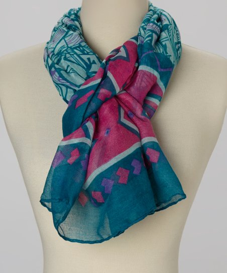 Blue Abstract Geometric Scarf