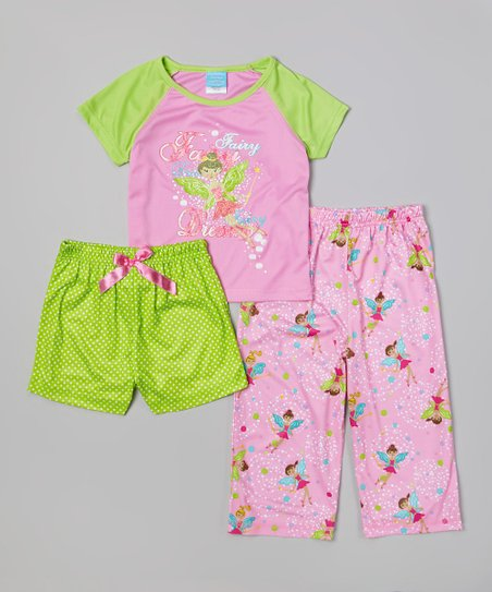 Pink & Green Fairy Pajama Set - Toddler & Girls