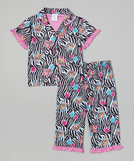 Black & White Zebra Button-Up Pajama Set - Toddler & Girls