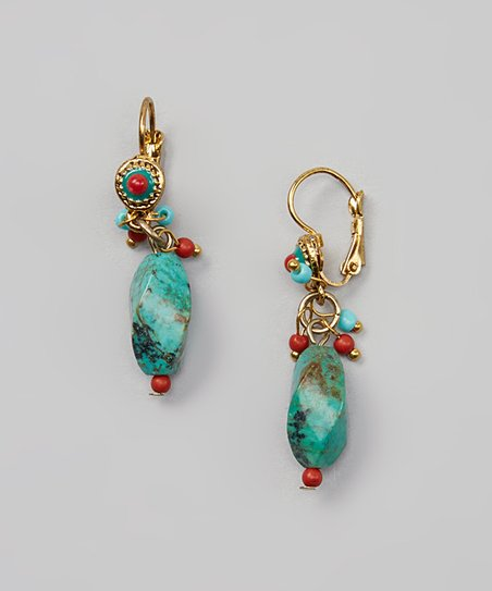 Turquoise & Gold Cluster Earrings