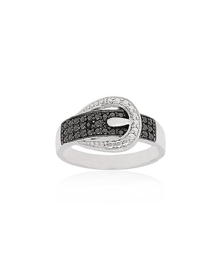 Silver & Black Diamond Buckle Ring