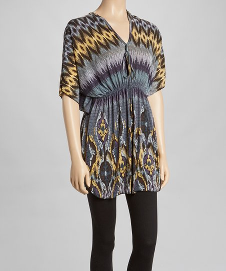 Gray & Yellow Ikat Cape-Sleeve Dress