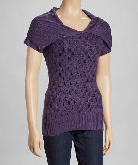 Purple Knit Split-Neck Top