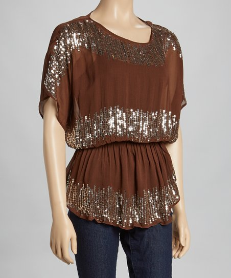 Brown Sequin Sheer Cape-Sleeve Top