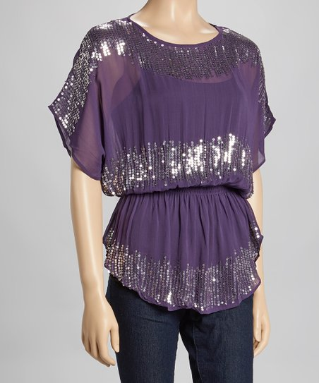 Purple Sequin Sheer Cape-Sleeve Top