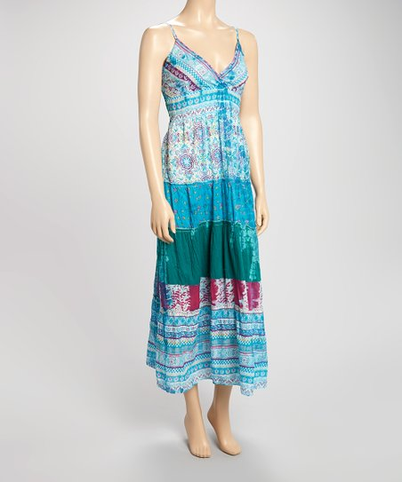 Turquoise Patchwork Maxi Dress
