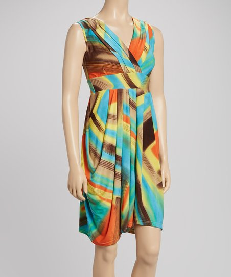 Orange & Blue Brushstroke Pleated Surplice Dress