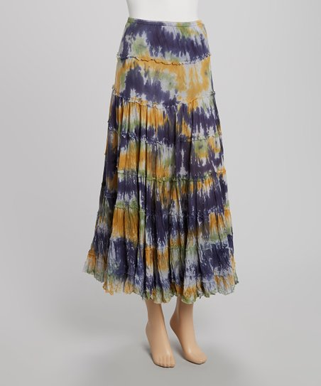 Blue Tie-Dye Maxi Peasant Skirt