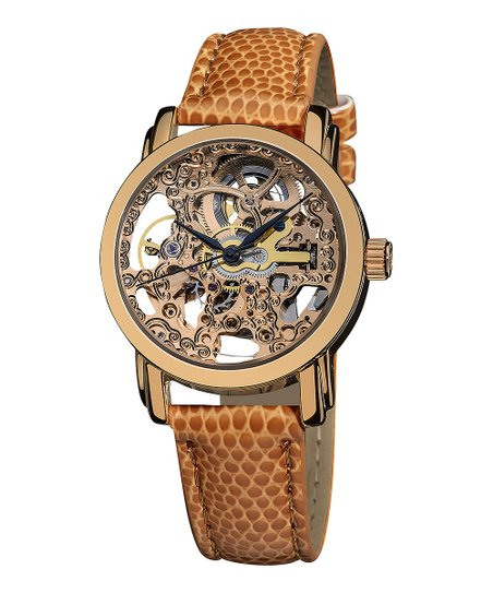 Rose Gold & Brown Mechanical Leather Watch
