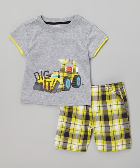 Gray 'Dig It!' Tee & Yellow Plaid Shorts - Infant & Toddler