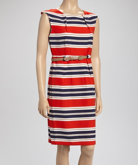 Red & Navy Stripe Belted Dress