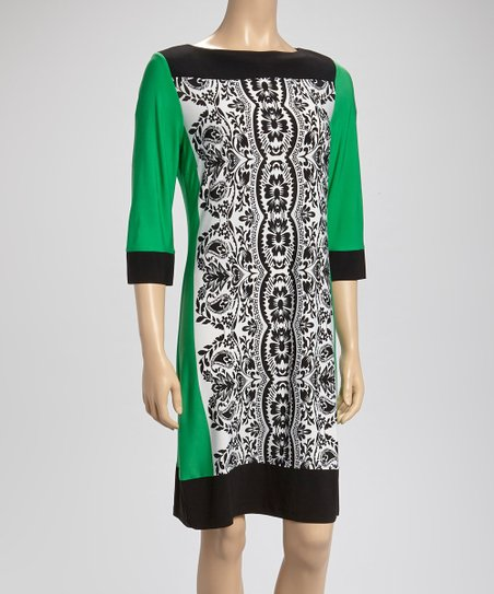Emerald & Black Paisley Color Block Dress