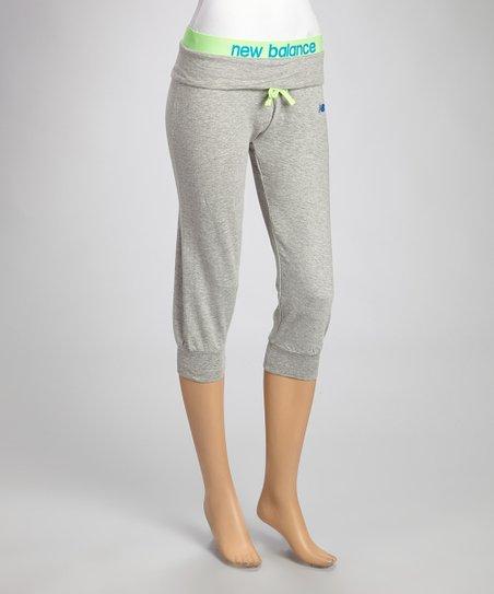 Heather Gray & Lime Loose-Fit Capri Pants