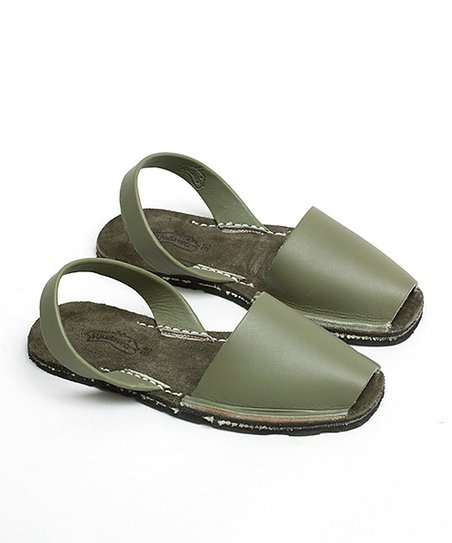 Green Leather Slingback Sandal - Women