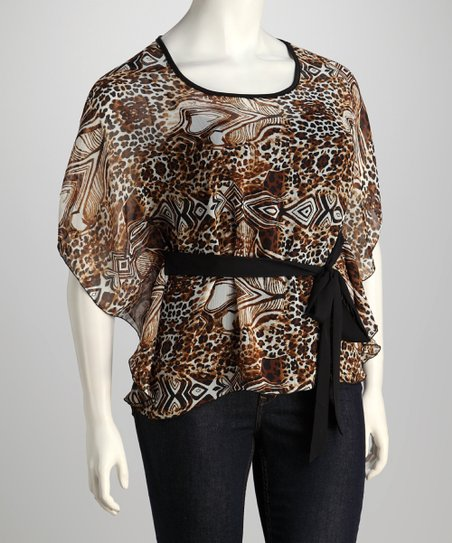 Brown Safari Belted Cape-Sleeve Top - Plus