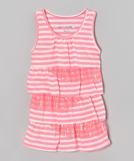 Pink & White Stripe Ruffle Tank - Toddler & Girls