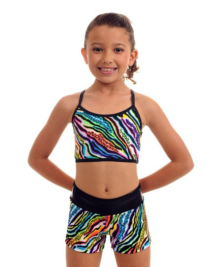 Black Zebra Zoo Paint Sports Bra & Shorts - Girls