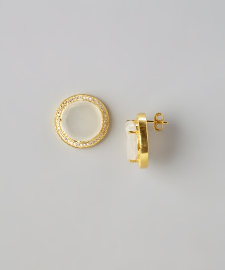 Gold & Light Pink Moonstone Stud Earrings