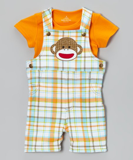 Orange & Blue Sock Monkey Overalls & Tee - Infant
