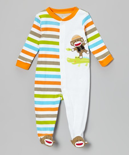 Orange & White Sock Monkey Footie - Infant