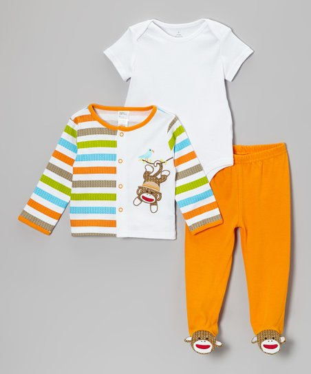 Orange & White Sock Monkey Jacket Set - Infant