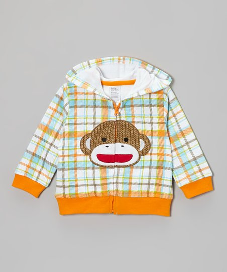 Blue & Orange Sock Monkey Zip-Up Hoodie - Infant