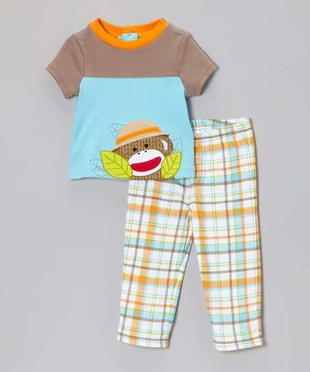 Blue & Orange Sock Monkey Tee & Plaid Pants - Infant