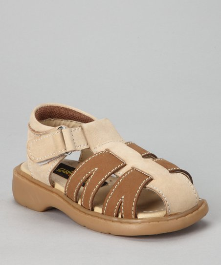 Beige & Tan Closed-Toe Sandal