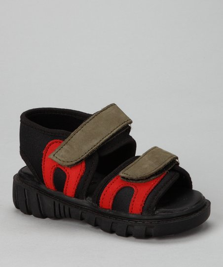 Black &amp; Red Double-Strap Sandal