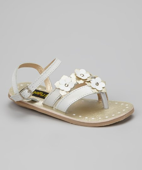 White & Gold Flower Sandal