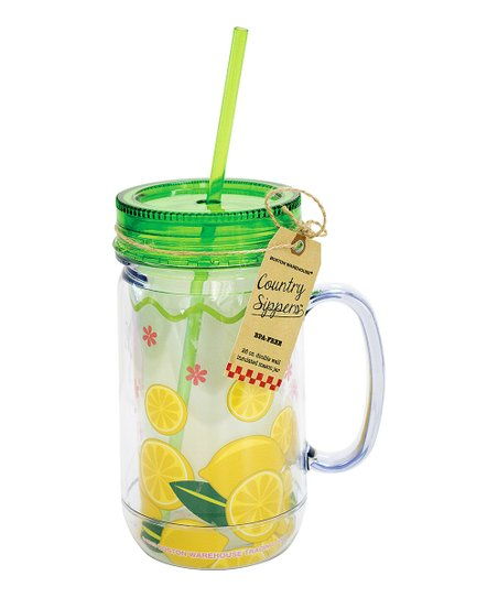 Green & Yellow Lemons 26-Oz. Mason Jar Tumbler