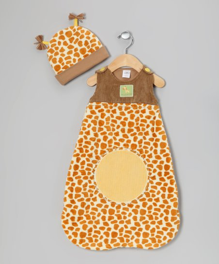 Brown & Yellow Giraffe Sleep Sack & Beanie