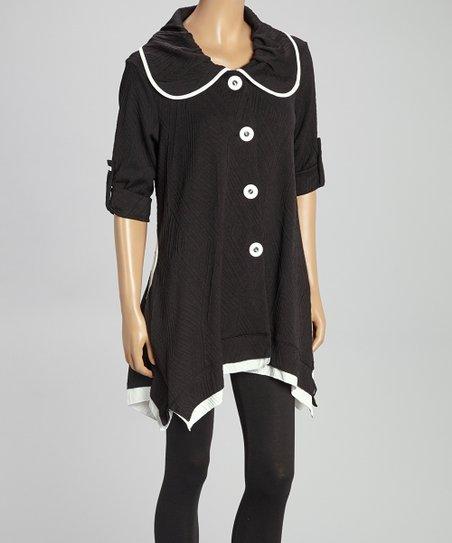 Black & White Textured Button-Up Top - Women & Plus