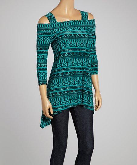 Teal & Black Geo Sidetail Tunic – Women & Plus