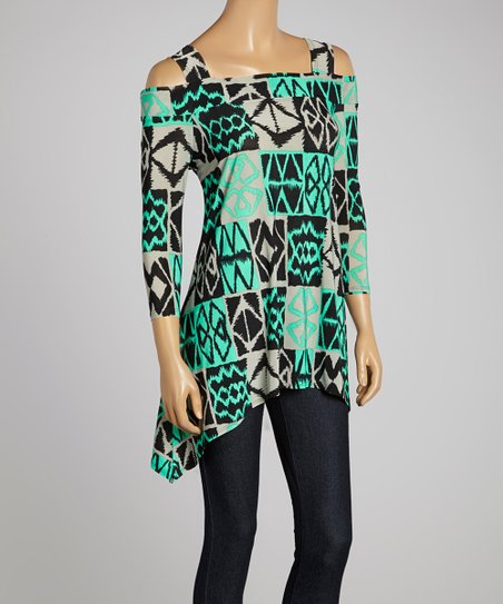 Green & Gray Geo Sidetail Tunic – Women & Plus