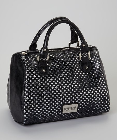 Black & Silver Metallic Satchel