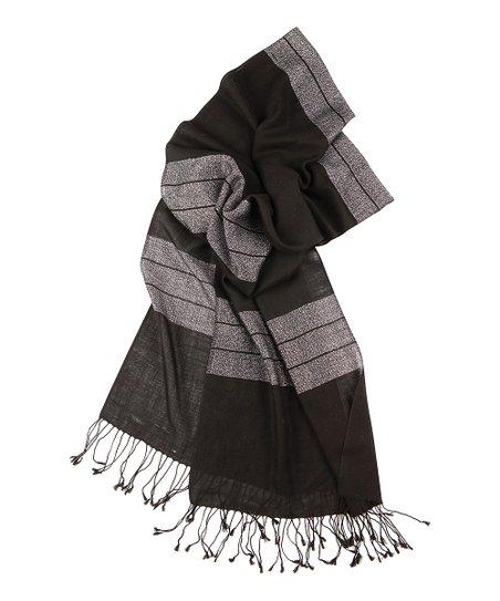 Black & Gray Wool Deepwater Scarf – Women