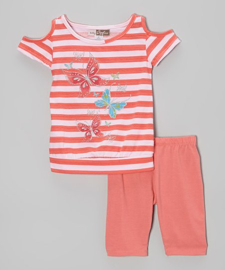 Fuchsia Butterfly Stripe Top & Leggings - Toddler