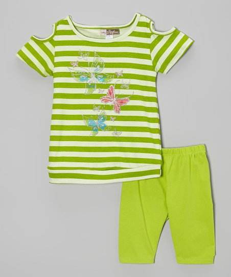 Pistachio Butterfly Stripe Top & Leggings - Toddler
