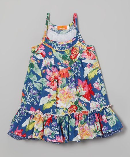 Blue & Pink Floral Layered Dress - Toddler & Girls
