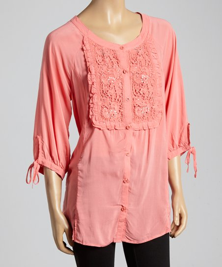 Coral Sequin Button-Up Top - Women